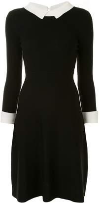 Paule Ka Shirt Collar Flare Knit Dress