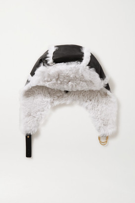 Yves Salomon Shearling And Leather Hat - Black