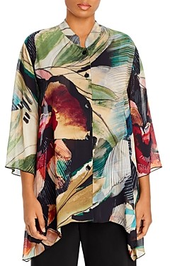 Caroline Rose Plus Printed Mandarin-Collar Tunic Top