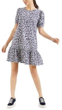 Charter Club Ditsy-Floral-Print Ruffle-Hem Dress, Created for Macy's