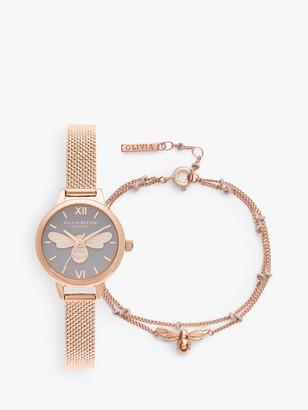Olivia Burton OBGSET140 Women's Lucky Bee Bracelet Strap Watch and Chain Bracelet Gift Set, Rose Gold/Grey