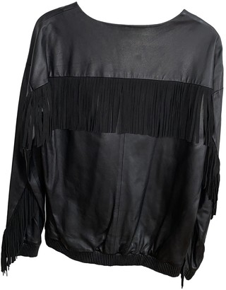 Ash Black Leather Top for Women