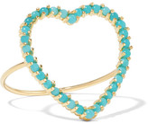 Jennifer Meyer Open Heart 18-karat Gold Turquoise Ring - 5 1/4