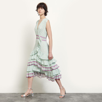 Sandro Long printed ruffled dress
