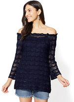New York & Co. Off-The-Shoulder Open-Stitch Sweater
