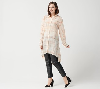 Lisa Rinna Collection Printed Woven Button Front Tunic