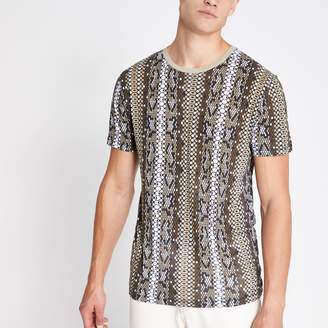 Jack and Jones Mens River Island Brown printed T-shirt
