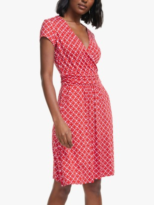 Boden Lola Geometric Print Jersey Dress, Post Box Red