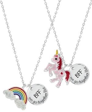 Rhona Sutton 4 Kids Children's Rainbow Unicorn Best Friends Two Piece Necklace Set in Sterling Silver