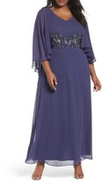 Alex Evenings Plus Size Women's Embellished Waist Capelet Gown