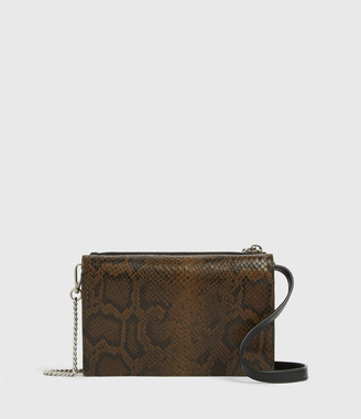 AllSaints Claremount Leather Chain Snake Crossbody Bag