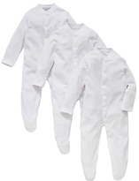 John Lewis Organic Cotton Sleepsuit, Pack of 3, White