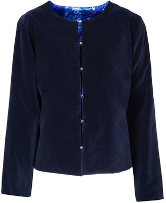 Isabel Manns Reversible Navy Velvet and Silk Satin Jacket