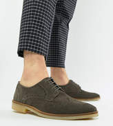 Asos Design Brogue Shoes In Grey Suede With Natural Sole