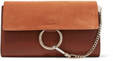 Chloé Faye Leather And Suede Clutch - Tan