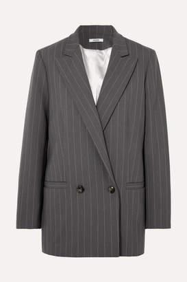Ganni Pinstriped Stretch-cady Blazer - Light gray
