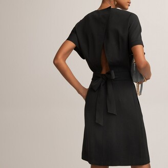 La Redoute Collections Open Back Mini Dress with Short Sleeves and Crew Neck
