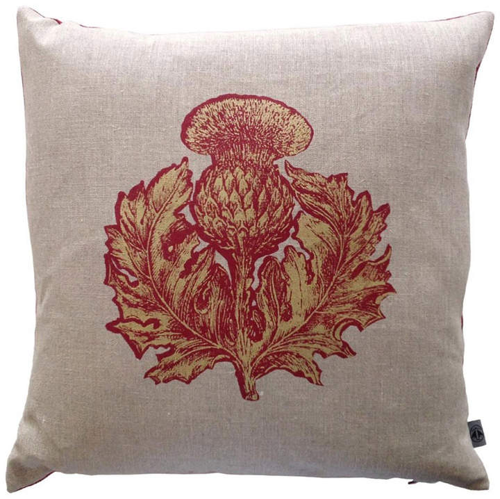 Houseology Timorous Beasties Thistle Cushion Small Red & Gold