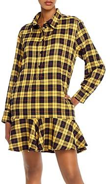 Aqua Ruffled Plaid Shirt Dress - 100% Exclusive