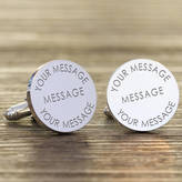 Nest Personalised Any Message Silver Cufflinks