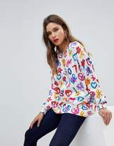 Love Moschino Balloons Logo Printed Blouse