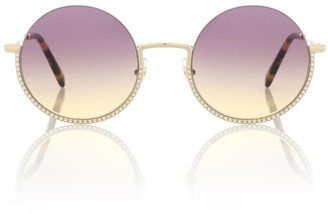 Miu Miu Societe crystal-embellished round sunglasses