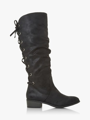 Head Over Heels Tylin Laced Back Detail Knee Boots