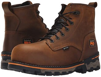 Timberland 6 Boondock Composite Safety Toe Waterproof Boot (Brown Distressed Leather) Men's Work Lace-up Boots