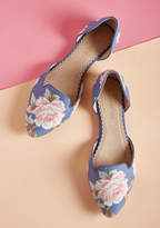 Restricted Well-Stepped d'Orsay Flat in Botanical Blue in 7.5 - Flat - 0-1 by ModCloth
