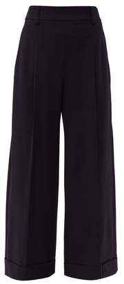 Brunello Cucinelli Wide Leg Wool Blend Trousers - Womens - Navy