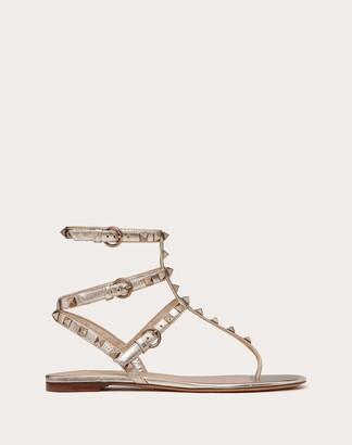 Valentino Garavani Rockstud Metallic Flat Flip-flop Sandal Women Champagne Lambskin 100% 38