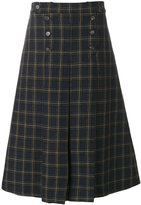 Mulberry checked A-line skirt