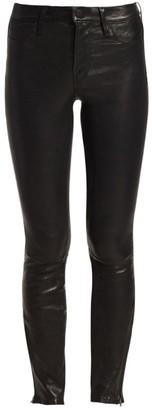 J Brand L8001 Mid Rise Leather Skinny Jeans