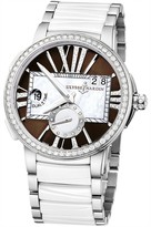 Ulysse Nardin Executive Dual Time Lady Brown Dial Stainless Steel And Ceramic Strap Automatic Ladies Watch