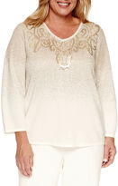 Alfred Dunner 3/4 Sleeve V Neck Layered Sweaters-Plus