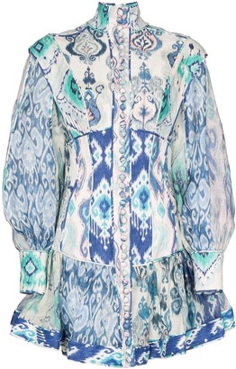 Zimmermann Glassy ruffled paisley-print mini dress