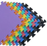 We Sell Mats - 1'x1' Blue 192 Squre Feet Foam Interlocking Anti-fatigue Kids Play Room Gym Soft Yoga Trade Show Basement Square Floor Tiles Borders Included - Several Colors to Choose From