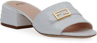 Fendi Mock-Croc FF Slide Sandals