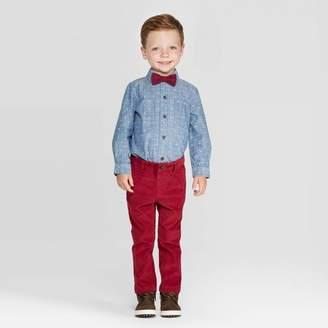 Cat & Jack Toddler Boys' 3pc Stripe Shirt & Pants Along With Bowtie Set - Cat & JackTM Blue/Red