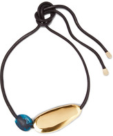 Dinosaur Designs Stone Leather, Gold-tone And Resin Necklace - Black