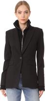 Veronica Beard Long & Lean Jacket with Black Upstitch