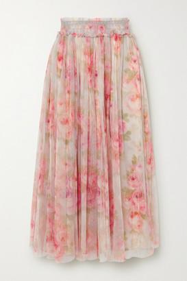 Needle & Thread Ruby Bloom Smocked Ruffled Floral-print Tulle Midi Skirt - Pink