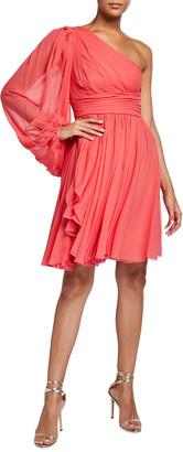 Giambattista Valli Asymmetric Shirred Dress