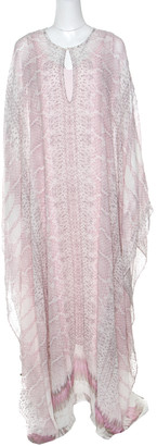 Roberto Cavalli Pink Python Scale Printed Silk Kaftan Dress S