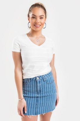 francesca's Hailee Rope Textured Tee - White