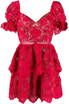 Self-Portrait Sweetheart-Neckline Lace Mini Dress