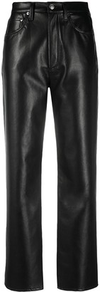 AGOLDE Cropped Leather Trousers