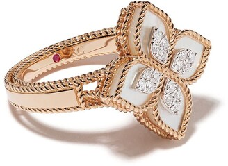 Roberto Coin 18kt rose gold Princess Flower mother-of-pearl and diamond ring