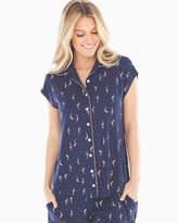 Soma Intimates Cap Sleeve Notch Collar Pajama Top Tropic Flock Navy