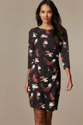 Wallis Womens Petite Floral 3/4 Sleeve Ruched Dress - Black